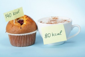 9570539 - cup of coffee and the blueberry muffin with calories count labels